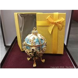 Faberge Style Egg With Semi Precious Stone And Enamel