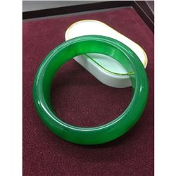 Chinese Green Jade hand-carved Bangle