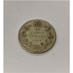 1936 Canadian Grade VG 10 Cent Coin