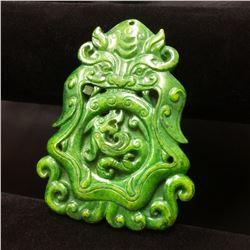 Asian Carved Green Jade Foo Dog And Dragon Medallion