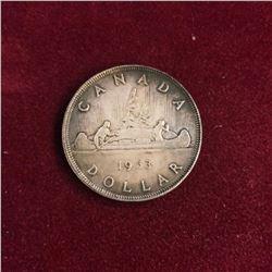 1953 Canadian $1 Silver Dollar 80% Silver