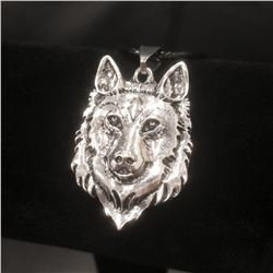 Beautiful Tibetan Silver Wolf Head Pendant Accompanied
