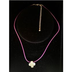 Simple, Cross Pink Necklace