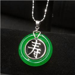 White Gold Plate Chinese Green Jade Circle Longevity Pendant Marked 18 Karat White Gold Plate