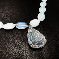 Hand Knotted Mother Of Pearl Colored Beaded Necklace With Rose Floral Pendant