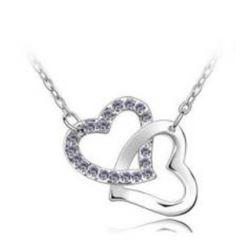 Austrian Crystal with Swarovski Elements - Interlocking hearts-Violet