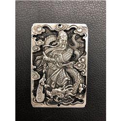 Asian Dragon and Warrior Carved Tibetan Silver Bullion