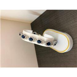 Ladies 925 Silver Bracelet Lined with Semi Precious Blue Gemstones
