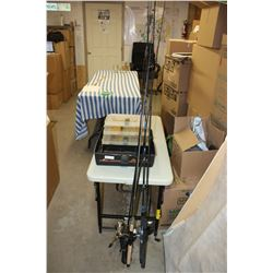 5 Fishing Rods + Empty Tackle Box