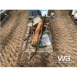 PALLET WITH SHOVELS, RAKE, HAY FORKS