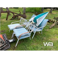 (4) PATIO CHAIRS WITH UMBRELLA