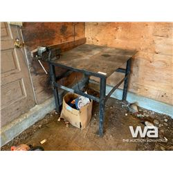 3 X 3 FT. STEEL TABLE WITH VISE