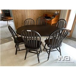 BROWN TABLE WITH (6) CHAIRS
