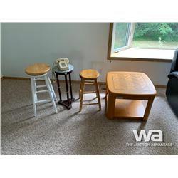 (2) STOOLS, SIDE TABLE, & LANDLINE PHONE