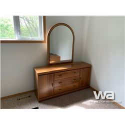 DRESSER WITH MIRROR, (2) MISMATCHED NIGHT STANDS