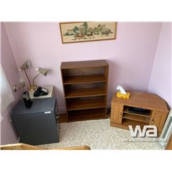 (2) FILING CABINETS, SHELF, CORNER TV STAND