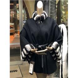 Double Face Wool Cape w/ Chinichilla Rex Collar & Cuffs