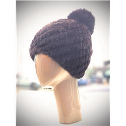 Knitted Mahogany Mink Elastic Hat w/ Fox Pompom