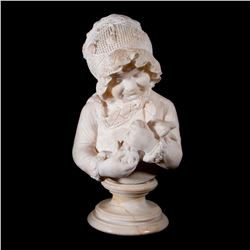 A marble bust of a child.