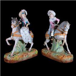 Pair of bisque equestrians.