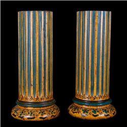 Pair of painted columns.