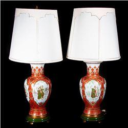 Pair of porcelain lamps.