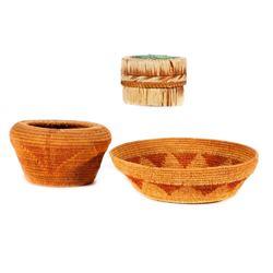 Three Indian baskets.
