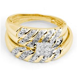 His & Hers Diamond Cluster Matching Bridal Wedding Ring Band Set 1/10 Cttw 14kt Yellow Gold