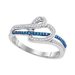 Round Blue Color Enhanced Diamond Heart Ring 1/5 Cttw 10kt White Gold