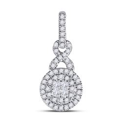 Diamond Fashion Cluster Pendant 1/2 Cttw 14kt White Gold