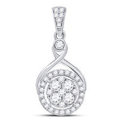 Diamond Circle Cluster Pendant 1/2 Cttw 10kt White Gold