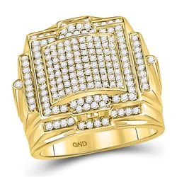 Mens Diamond Square Big Look Cluster Ring 1-1/2 Cttw 10kt Yellow Gold