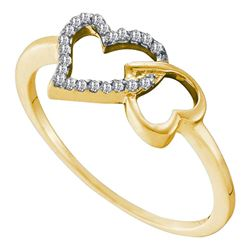 Diamond Double Heart Ring 1/20 Cttw 10kt Yellow Gold