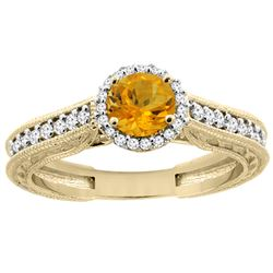 0.99 CTW Citrine & Diamond Ring 14K Yellow Gold - REF-57X2M