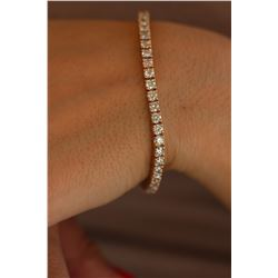 Natural 6.02 ctw Diamond Eternity Tennis Bracelet 18K Rose Gold - REF-498Y2W