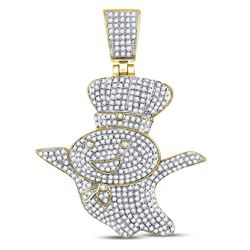 Mens Diamond Doughboy Charm Pendant 1-1/3 Cttw 10kt Yellow Gold