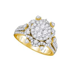 Diamond Cluster Bridal Wedding Engagement Ring 1-5/8 Cttw 14kt Yellow Gold