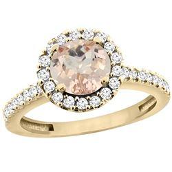1.08 CTW Morganite & Diamond Ring 10K Yellow Gold - REF-57N6Y