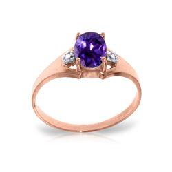 Genuine 0.76 ctw Amethyst & Diamond Ring 14KT Rose Gold - REF-20Y8F