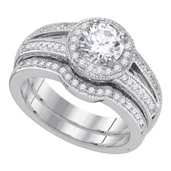 Diamond Halo Bridal Wedding Engagement Ring Band Set 1-1/3 Cttw 14kt White Gold