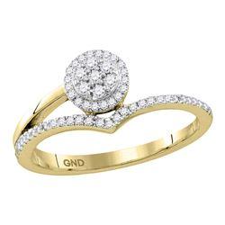 Diamond Cluster Chevron Fashion Ring 1/4 Cttw 10kt Yellow Gold
