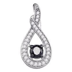 Round Black Color Enhanced Diamond Teardrop Pendant 1/4 Cttw 10kt White Gold