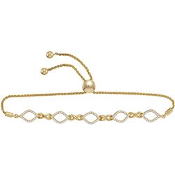 Diamond Infinity Oval Bolo Bracelet 1/4 Cttw 10kt Yellow Gold