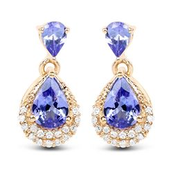 1.12 ctw Tanzanite & Diamond Earrings 14K Yellow Gold - REF-34W6M
