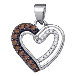 Round Brown Diamond Heart Pendant 1/5 Cttw 10kt White Gold