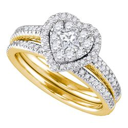 Diamond Heart Bridal Wedding Engagement Ring Band Set 3/4 Cttw 14kt Yellow Gold