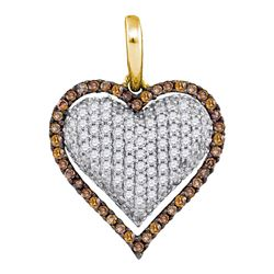 Round Brown Diamond Outline Heart Cluster Pendant 7/8 Cttw 10kt Yellow Gold