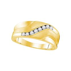 Mens Diamond Wedding Band Ring 1/4 Cttw 10kt Yellow Gold