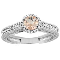 0.94 CTW Morganite & Diamond Ring 14K White Gold - REF-60N3Y