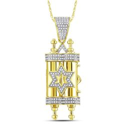 Mens Diamond Torah Magen David Scroll Charm Pendant 3/8 Cttw 10kt Yellow Gold